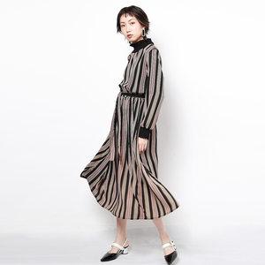 2018秋季新款韩版雪纺竖条纹长袖立领<span class=H>连衣裙</span>中长款复古收腰裙子