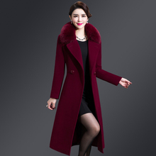 Wool jacket women's medium and long Korean version of the new wool fabric in autumn and winter without double-sided cashmere overcoat