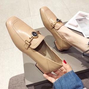英伦方头乐福鞋低跟小皮鞋女懒人<span class=H>单鞋</span>一脚蹬两穿休闲女鞋水钻圆扣
