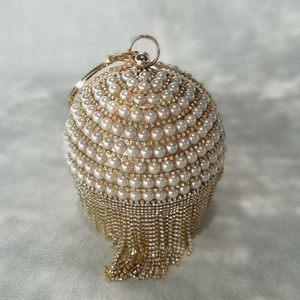 奢华圆球形珍珠女包晚宴会名媛礼服水钻流苏单肩链条斜跨迷你小包