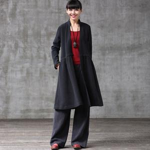 帛色春新款棉麻连衣裙小V立领开衫 女式中长款风衣外套黑色