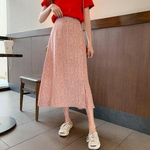 Q1142-2019春新款女装韩版高腰气质开叉长款碎花A字半身裙 0221