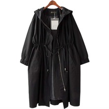 Extra-large women's clothes in spring and autumn windbreaker jacket, medium-length cap, waist slim 200 kg overcoat, black meat cover
