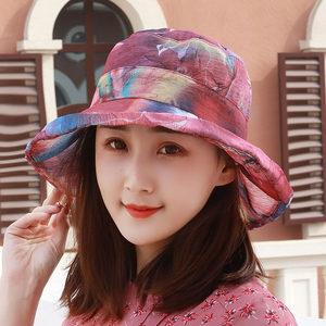 帽子女韩版纱帽碎花盆帽渔夫帽遮阳帽防晒帽太阳帽沙滩凉帽户外帽