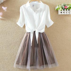 22短袖衬衫<span class=H>背心裙</span>女2019夏季新款潮两件套装修身公主短裙连衣裙子