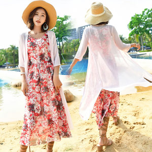 连衣裙套装女2018夏新款圆领雪纺碎花波西米亚<span class=H>长裙</span>海边度假沙滩裙