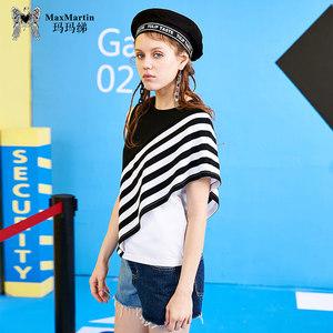 玛玛绨条纹不规则t恤女2019新款夏季韩版圆领拼接短袖修身<span class=H>上衣</span>