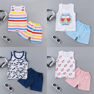 婴儿幼儿<span class=H>背心</span>短裤套装纯棉宝宝夏季薄款无袖打底小童儿童男女夏装