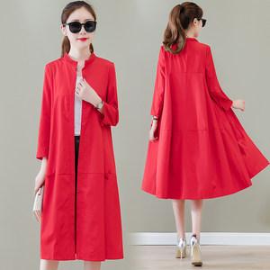 红色<span class=H>风衣</span>女中长款2019年春装新款韩版流行春秋季薄款早春过膝外套