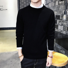 Men's sweater round neck Korean Slim solid color long-sleeved sweater sweater autumn and winter men's woolen clothes men's black