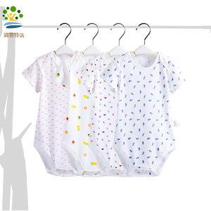 新生婴儿衣服短袖连体衣服男女宝宝夏季薄款纯棉可爱三角<span class=H>哈衣</span>爬服
