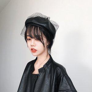 帽子<span class=H>女士</span>秋冬季网红同款网纱贝雷帽黑色pu皮画家帽复古时尚蓓蕾帽