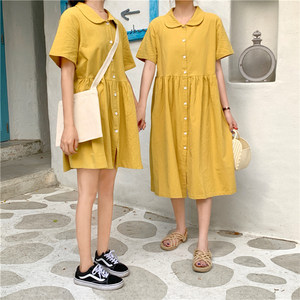 夏季2019新款韩版chic娃娃领短袖排扣宽松长短款闺蜜装<span class=H>连衣裙</span>女