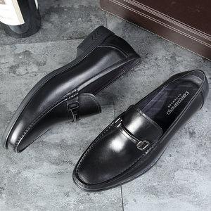 卡丹路真皮皮鞋秋季商务休闲皮鞋套脚<span class=H>单鞋</span>办公室爸爸鞋懒人鞋<span class=H>单鞋</span>