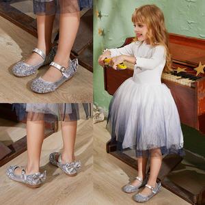 女童鞋子公主鞋水晶鞋女儿童银色<span class=H>皮鞋</span>公主鞋礼服鞋走秀花童演出鞋