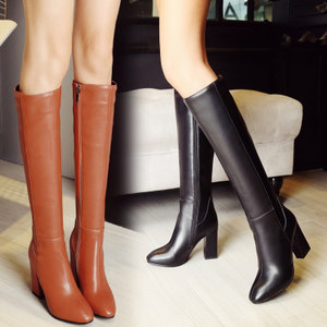 秋冬季高筒靴韩版长筒女靴子大码<span class=H>女鞋</span>粗跟高跟长靴及膝中靴骑士靴