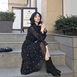 网红雪纺<span class=H>连衣裙</span>女春夏装2019新款碎花黑色星星印花裙长袖衬衫裙子