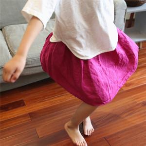 夏新品原创女童纯色棉麻半身裙儿童文艺范亚麻玫粉色<span class=H>裙子</span>短款水洗