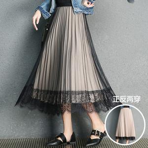 唯依◆沫系列品牌折扣<span class=H>女裝</span>壓褶睫毛花邊正反兩穿<span class=H>半身裙</span>3.16春