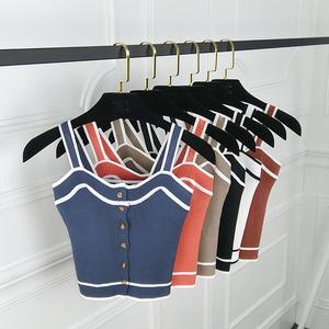 2018夏季<span class=H>女装</span>新款百搭无袖上衣针织衫短款露肚脐吊带小背心单排扣