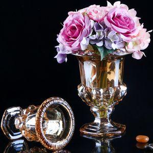欧式高脚水晶玻璃<span class=H>花瓶</span>圆形四方奢华电镀金色客厅茶几装饰摆设插花