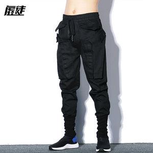 欧美街头<span class=H>裤子</span>男韩版潮流夏季宽松工装裤薄款小脚修身个性嘻哈裤潮