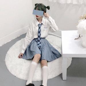 「谜兔少女」原创设计冬季恋歌情侣款JK制服软妹白色刺绣衬衫