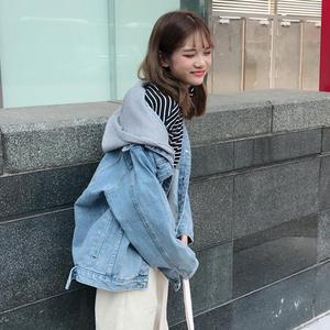 2019款春装韩版流行<span class=H>女装</span>连帽牛仔衣外套女上衣宽松新款学生