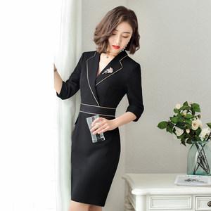 秋款新款职业<span class=H>连衣裙</span>五分袖OL韩版女装修身显瘦包臀中袖连体裙气质