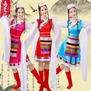 新款<span class=H>女装</span>藏族舞蹈<span class=H>服装</span>演出<span class=H>服装</span><span class=H>民族</span>舞蹈表演服水袖西藏雪莲花藏族