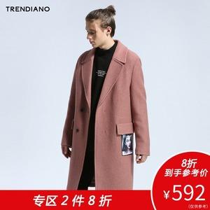TRENDIANO新<span class=H>男装</span>冬装<span class=H>西装</span>式人像贴布长款毛呢外套大衣3JC4340570