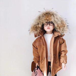 韩国超大貉子真毛领儿童羽绒棉服冬焦糖色男女童宝宝棉衣棉袄外套