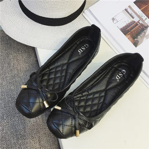 韩国女鞋2019春夏季防滑软底<span class=H>单鞋</span>平底舒服方头时尚鞋黑色工作鞋子