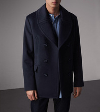 U.S. Navy Peacoat Coat, Wool Fabric, Tibetan Blue Slim Men's Winter Double-breasted 740 Overcoat