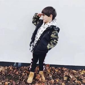 儿童羽绒服2018秋冬新款<span class=H>两用</span>拼色连帽中小男童羽绒外套袖子可脱袖