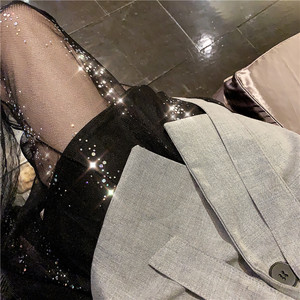 年会过膝小礼服夜店亮片网纱性感中长款吊带大摆裙A字裙<span class=H>连衣裙子</span>