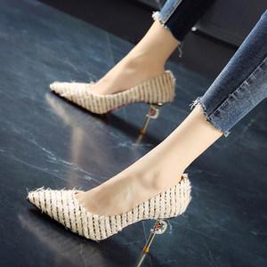 韩版高跟鞋2019春季新款条纹拼色<span class=H>单鞋</span>细跟浅口尖头鞋气质毛毛女鞋