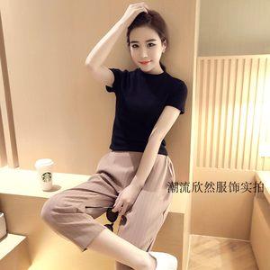 夏季新款修身女士T恤 韩版小高领莱卡棉弹力紧身T纯色短袖<span class=H>打底衫</span>