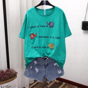 19夏季新款短袖竹节棉上衣贴布大象透气薄款大码女装<span class=H>T恤</span> 熙缘1315