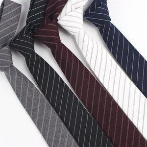 男士棉质<span class=H>领带</span>商务休闲韩版窄款6CM学院风英伦风时尚百搭斜条纹