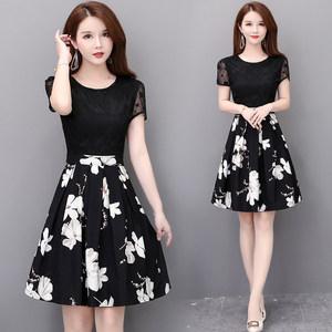 雪纺连衣裙2019新款夏装大码假两件修身显瘦气质短袖印花蕾丝裙子