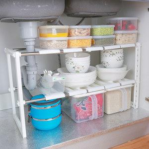 日本下水槽置物架厨房不锈钢双层 可伸缩收纳整理架子锅架储物架