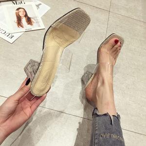 网红拖鞋女外穿时尚百搭2019新款夏季高跟凉拖粗跟透明水晶跟<span class=H>女鞋</span>