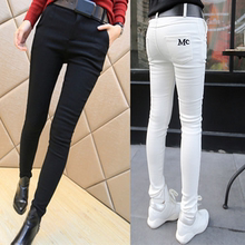 Women's warm cotton trousers with velvet and thicker underpants for winter wear tight, high waist elastic pencil trousers with small feet