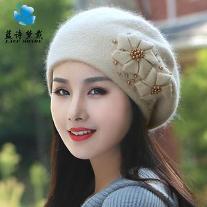 秋冬季新品韩版潮百搭保暖兔毛线帽女子冬天甜美可爱珍珠贝雷帽