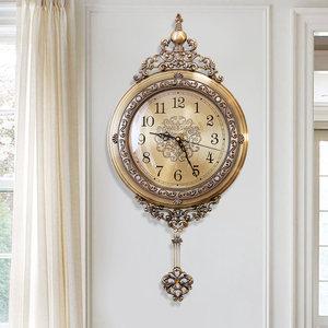 客廳家用<span class=H>掛鐘</span>創意裝飾鐘表美式金屬時鐘歐式靜音簡約現代石英鐘墻