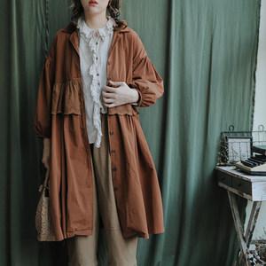 美村日式森女文艺复古中长款蕾丝拼接宽松春季<span class=H>风衣</span>薄款外套 2色
