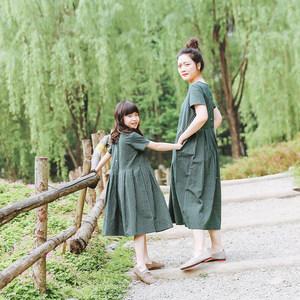 2019夏装新款<span class=H>母女装</span>长裙/女童麻棉绿色条纹宽松文艺亲子装连衣裙