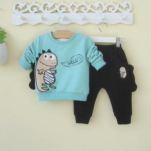 婴幼儿童装恐龙男童宝宝春装春秋0一1-3岁婴儿潮衣服时尚套装韩版