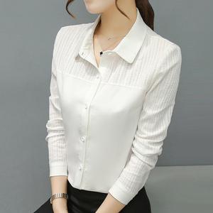 漫娜儿2019春装新款白衬衫女长袖大码打底衬衣显瘦修身OL韩版时尚